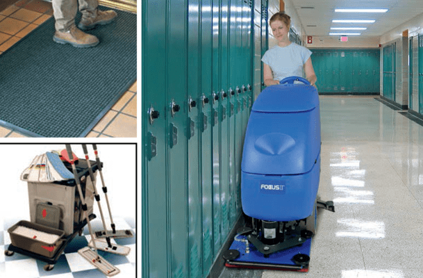 Janitorial Equipment: autoscrubbers, mops, mats