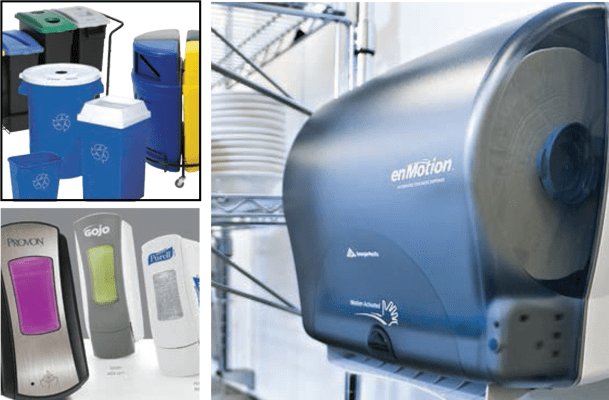 towel dispensers, recepticles, soap dispensers