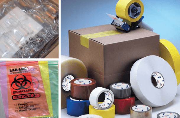 Packaging tape, foam, bubble strapping
