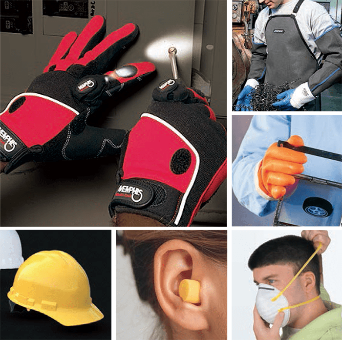 Safety Supplies: gloves, helmets, hearing protection