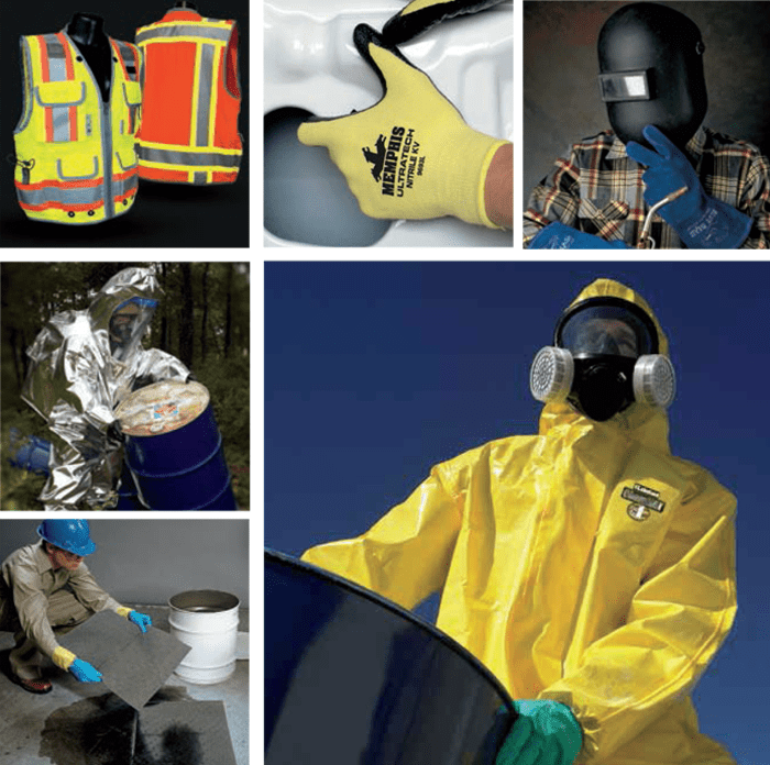 Safety vests, respirators, hazmat suits