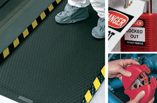 anti-fatigue mats, lockout