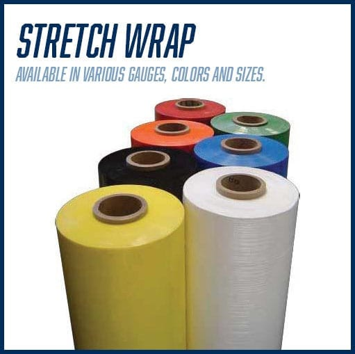 Stretch Wrap is available in various guages, colors and sizes
